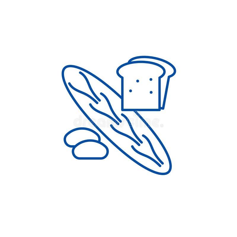 面包店商店线象概念 面包店商店平的传染媒介标志,标志,概述例证 皇族释放例证
