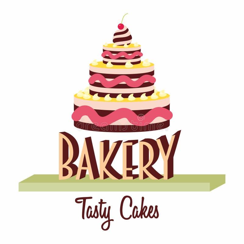 面包店商标、标签或者标志设计观念与鲜美蛋糕 皇族释放例证