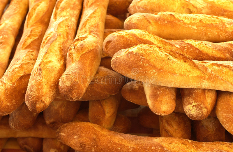面包店在法语上添面包 免版税库存图片