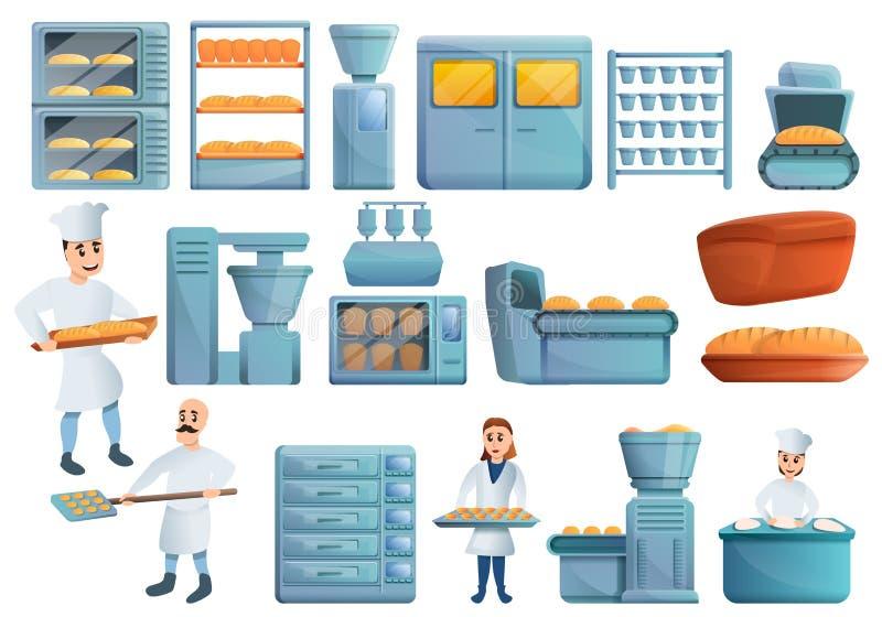 面包店工厂象集合,动画片样式 向量例证