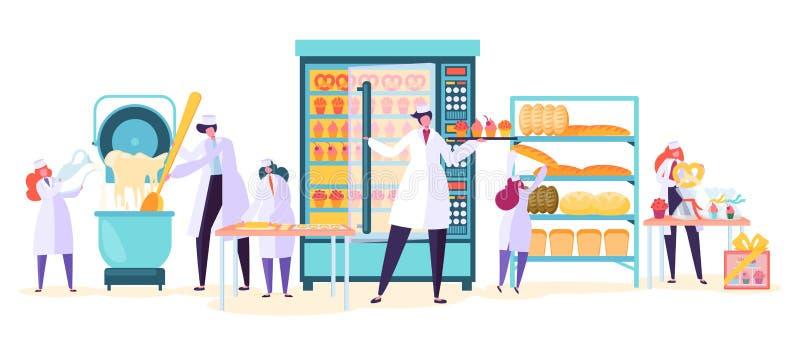 面包店工厂食物生产字符 面包贝克机器产业厂 工作者做蛋糕面团 向量例证