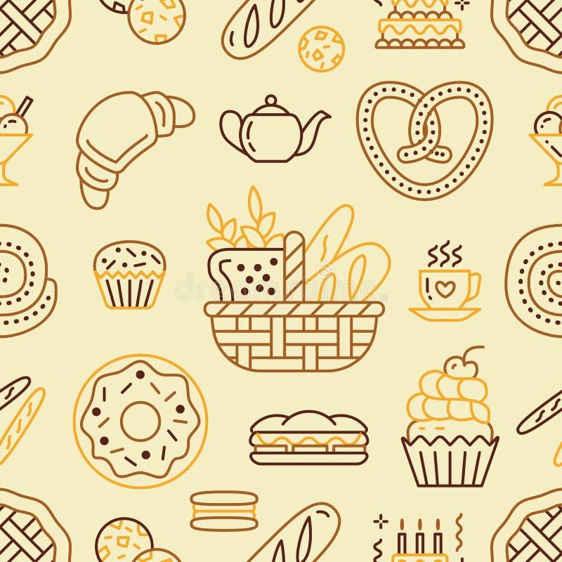 面包店无缝的样式,食物米黄颜色传染媒介背景  糖果店产品变薄线象-结块,新月形面包 向量例证