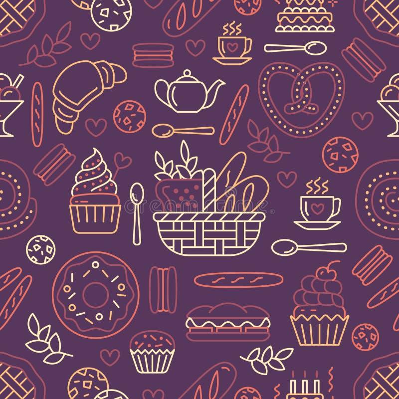 面包店无缝的样式,食物米黄颜色传染媒介背景  糖果店产品变薄线象-结块,新月形面包 库存例证