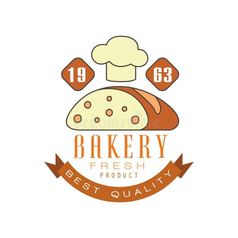 面包店最佳的质量, estd 1963年商标模板,面包商店徽章减速火箭的食物标签设计传染媒介例证 库存例证