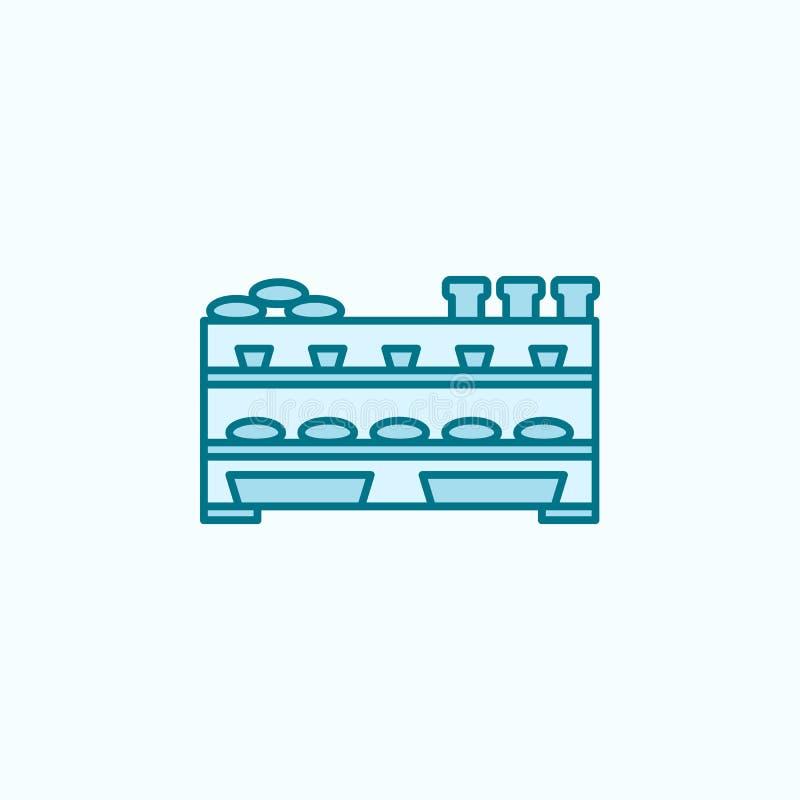 面包店柜台2种族分界线象 简单的色素例证 面包店柜台概述从购物中心的标志设计 库存例证