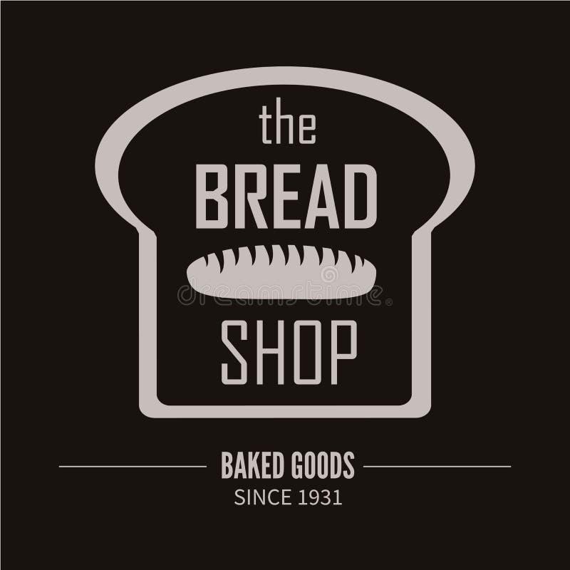 面包店略写法 面包店或助长的商店葡萄酒设计元素 向量例证