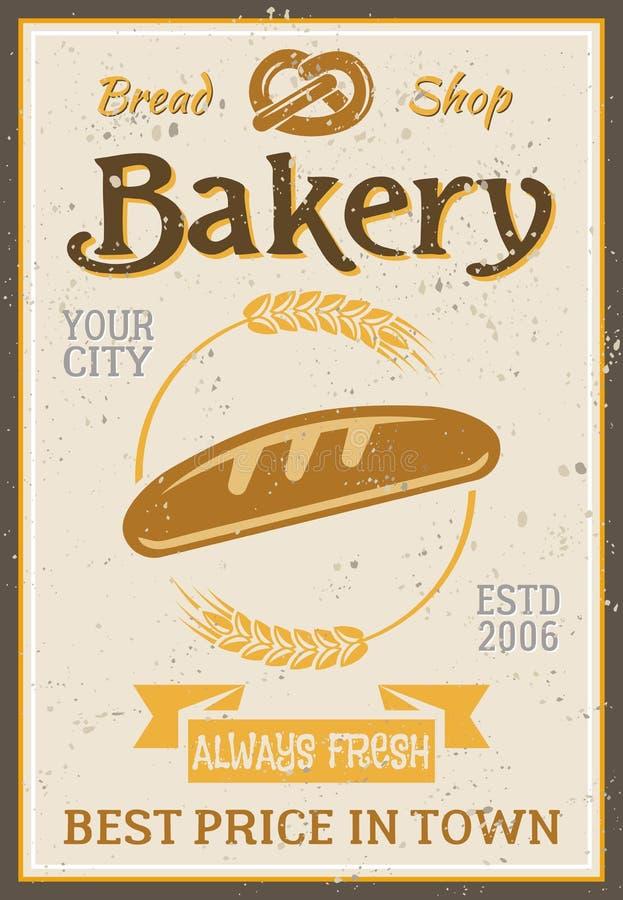 面包店葡萄酒海报用面包和麦子 向量例证