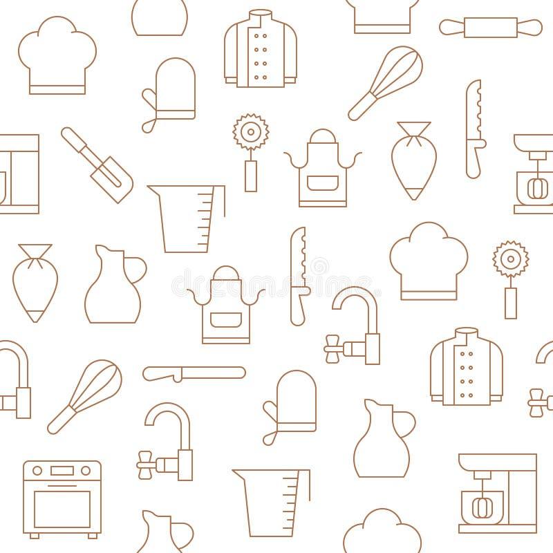 面包店设备和厨房用具无缝的样式wallp的 向量例证