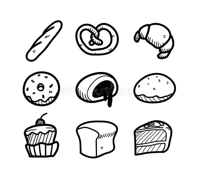 插画 包括有 烘烤, 图画, 椒盐脆饼, 图象, 现有量, 多福饼, 食物