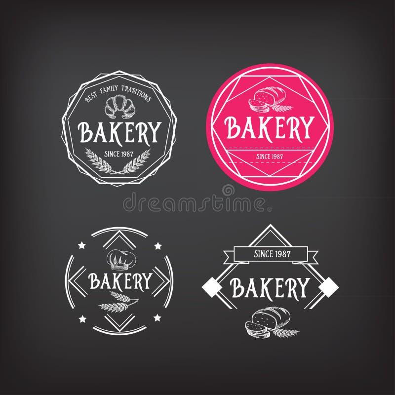 面包店象设计 菜单徽章葡萄酒 库存例证