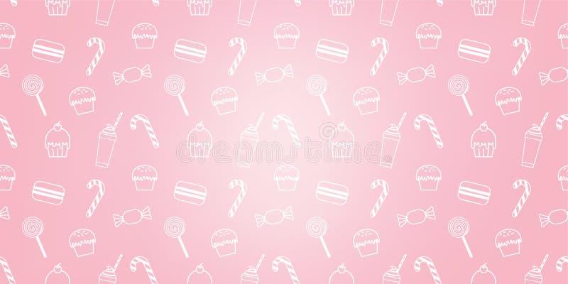 面包店逗人喜爱的杯形蛋糕糖果奶昔蛋白杏仁饼干甜桃红色象咖啡馆样式背景 向量例证