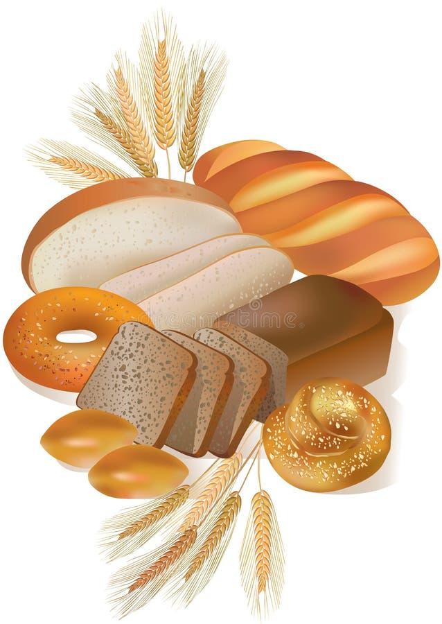 面包店面包产品 向量例证