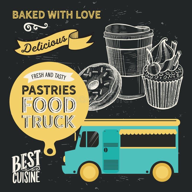 面包店食物卡车例证-蛋糕,多福饼,新月形面包,杯形蛋糕 库存例证