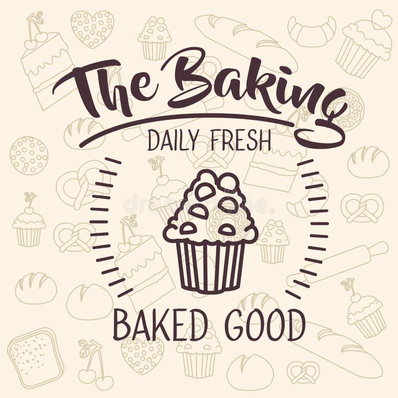 面包店食物设计松饼  皇族释放例证