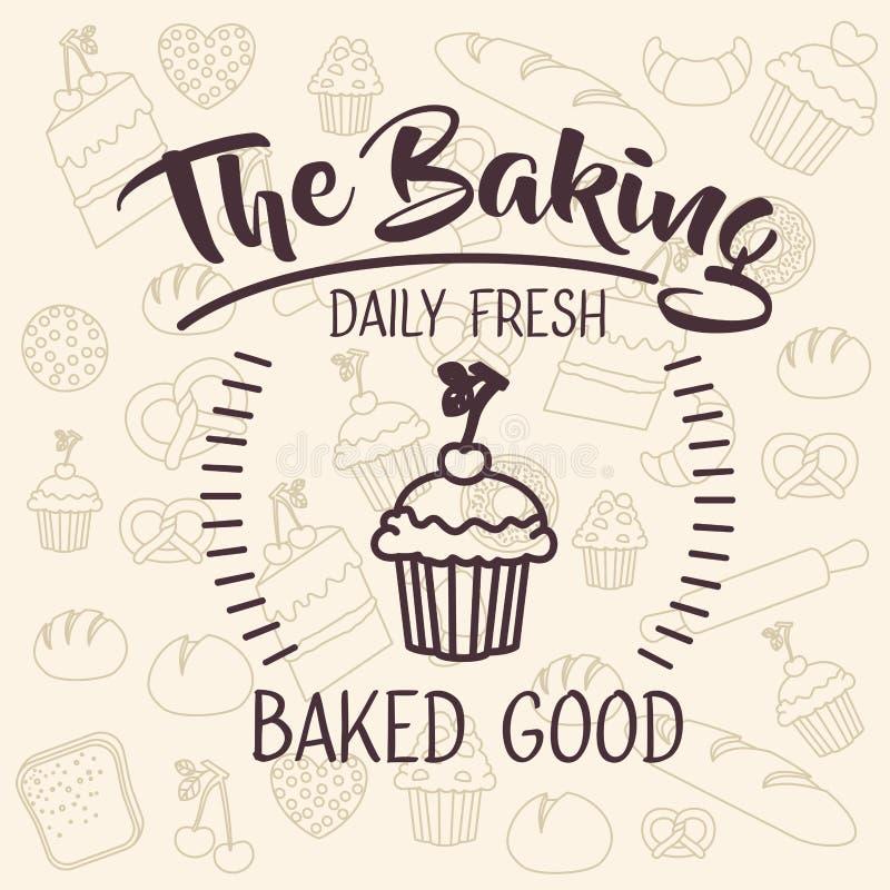 面包店食物设计松饼  向量例证