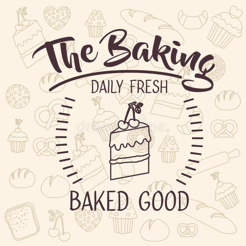 面包店食物设计蛋糕  库存例证