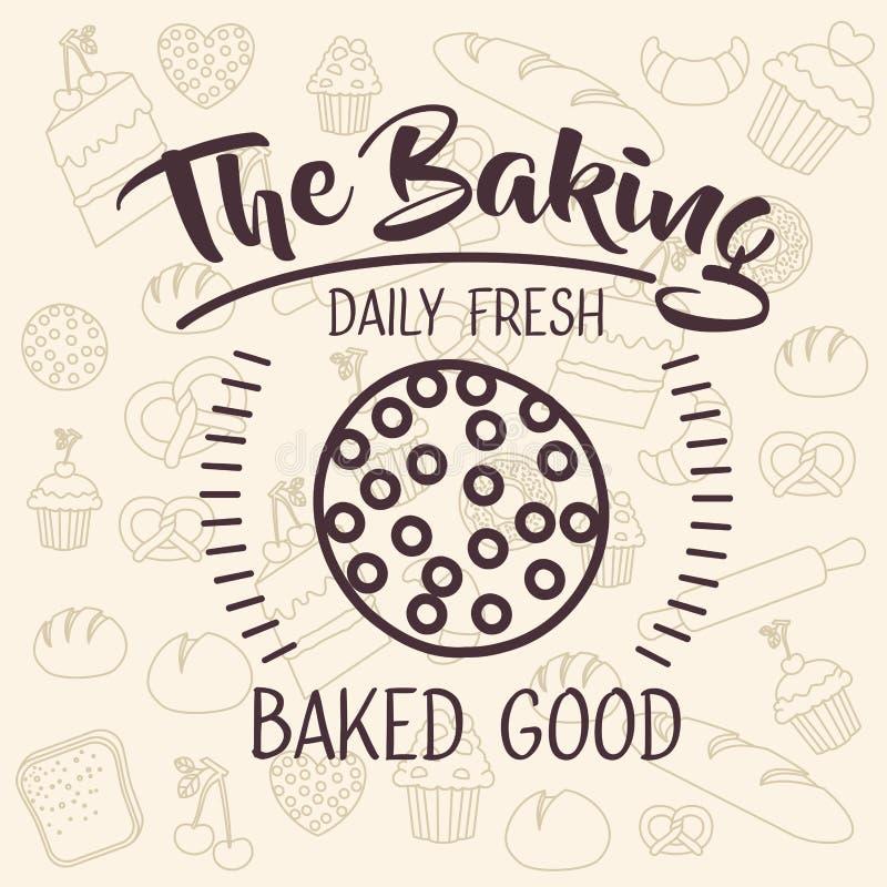 面包店食物设计Coockie  向量例证