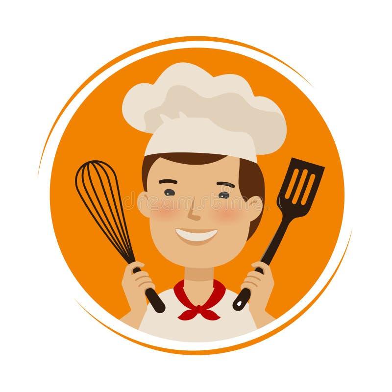 面包店,烹调商标 帽子的逗人喜爱的厨师有厨房工具的在手上 r 库存例证