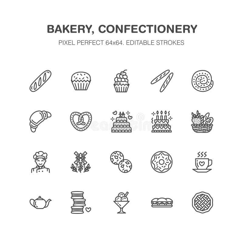 面包店,糖果店平的线象 甜商店产品 皇族释放例证
