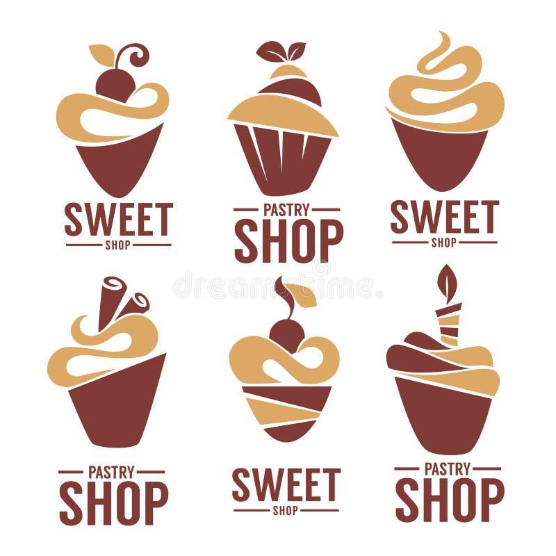 面包店,酥皮点心,糖果店,蛋糕,点心,甜点购物 向量例证