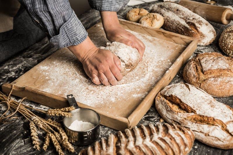 面包店-面包师揉未加工的面团的` s手,做面包 图库摄影
