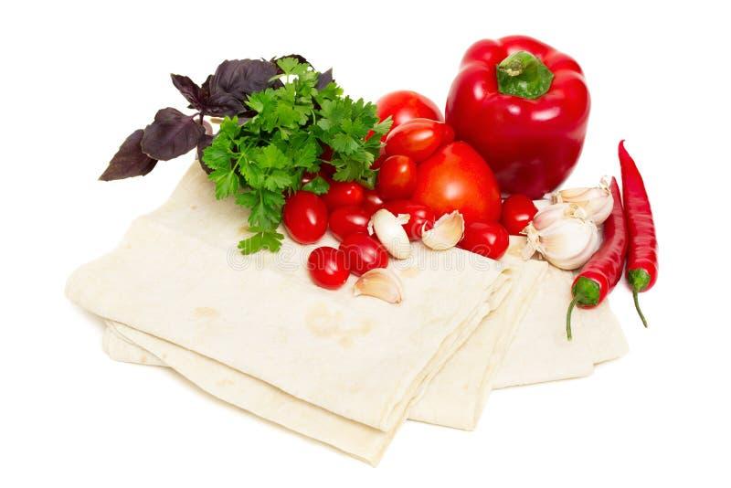 面包新鲜的pita蔬菜 图库摄影