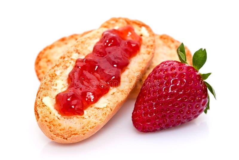 面包果酱草莓 免版税库存照片