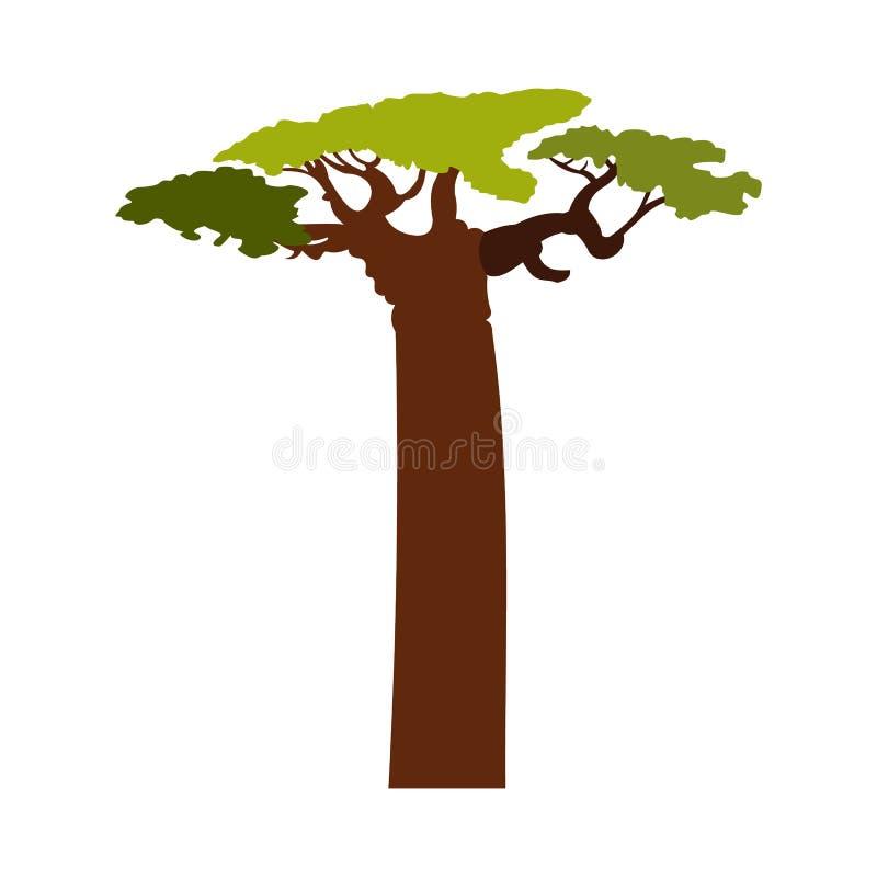 猴面包树树象,平的样式 向量例证