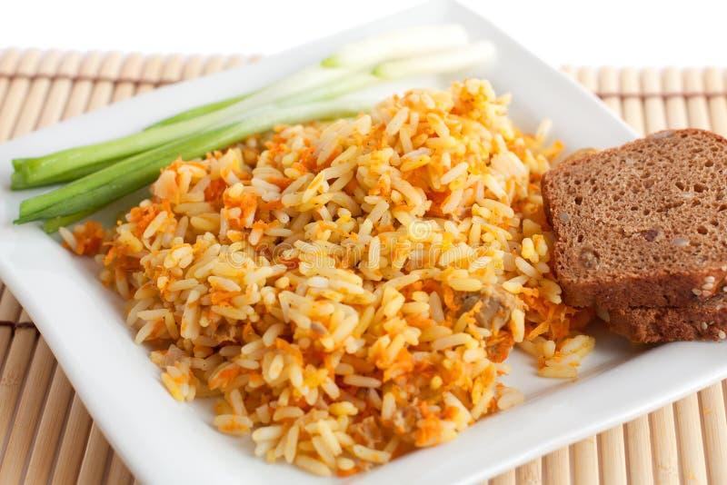 面包棕色葱米 免版税库存图片
