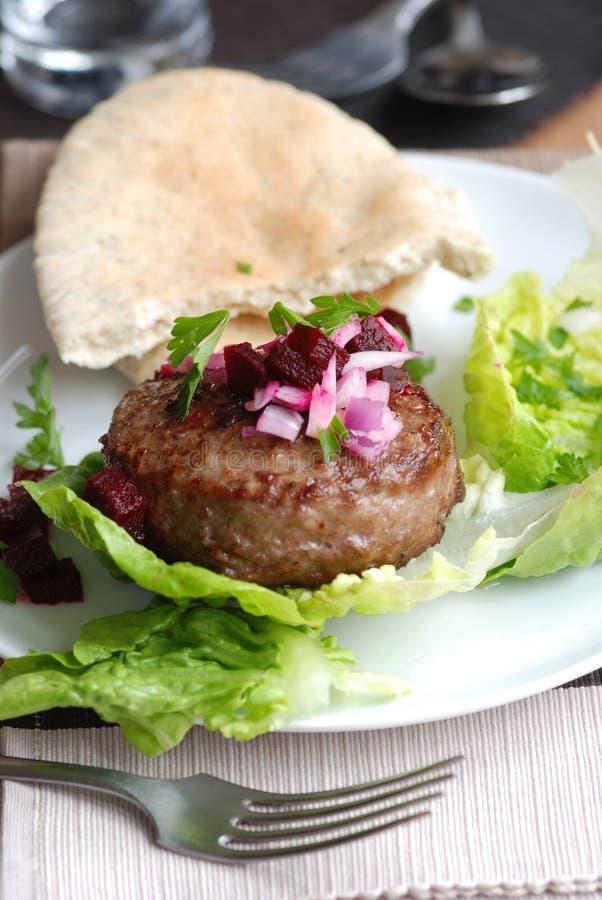 面包汉堡莴苣pita 免版税库存照片