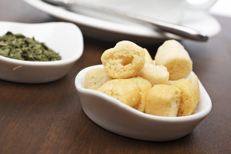 面包油煎方型小面包片荷兰芹 图库摄影