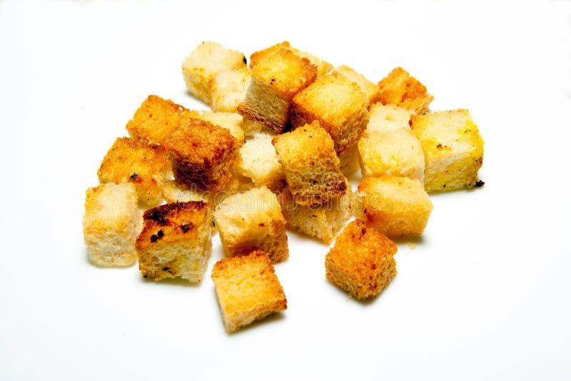 面包油煎方型小面包片 免版税库存照片