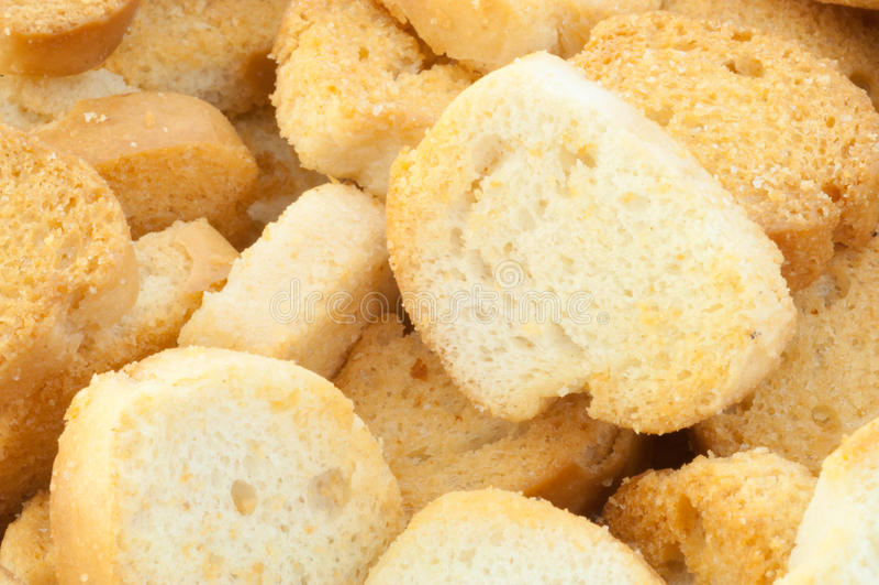 面包油煎方型小面包片 免版税库存图片