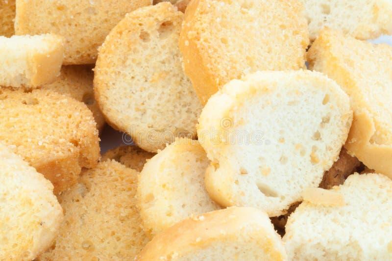 面包油煎方型小面包片 库存照片
