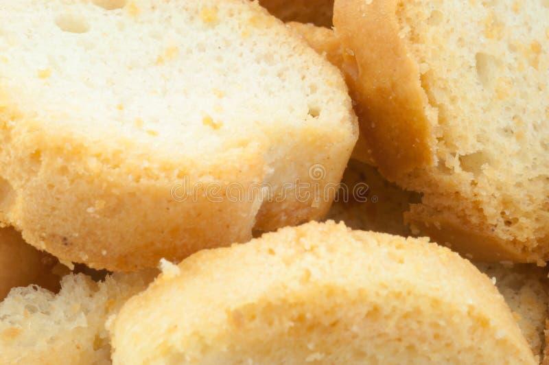 面包油煎方型小面包片 免版税图库摄影