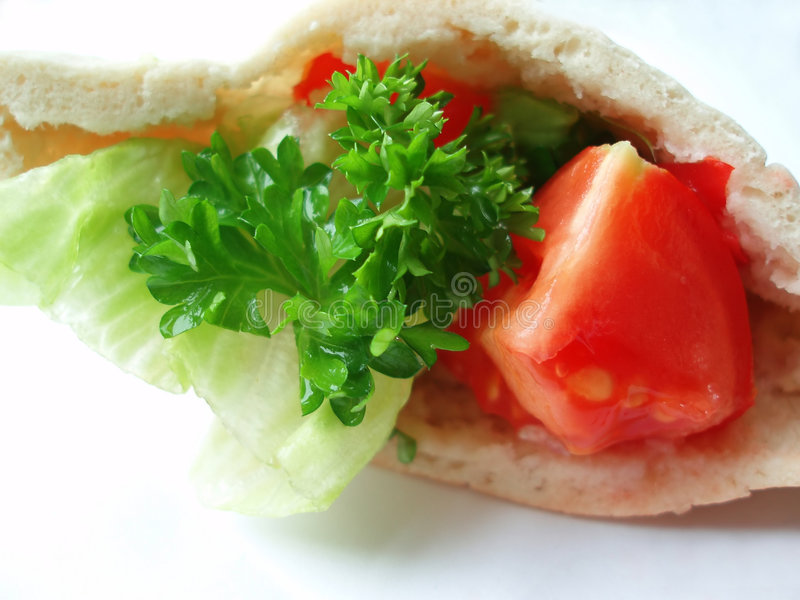面包混杂的pita沙拉 免版税图库摄影