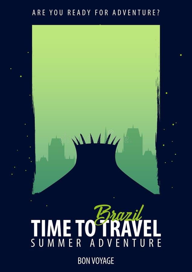 面包渣 时刻旅行 旅途,旅行,假期 您的冒险 一路平安 向量例证