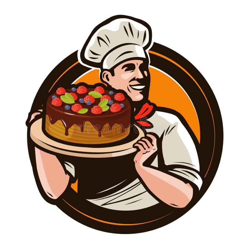 面包点心店商标或标签 有蛋糕的厨师在盘子 外籍动画片猫逃脱例证屋顶向量 向量例证