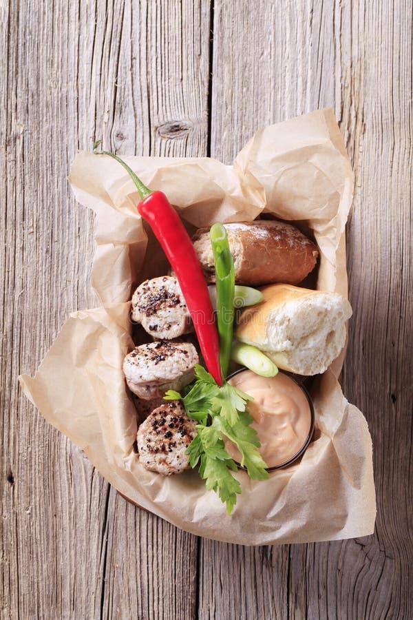 面包烤猪肉卷里脊肉 库存照片