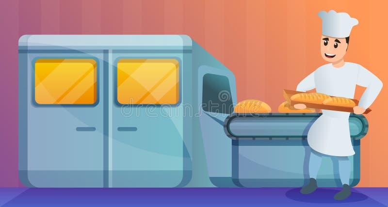 面包烤箱面包店工厂概念横幅,动画片样式 皇族释放例证