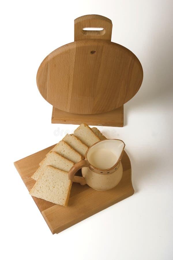 面包牛奶 图库摄影