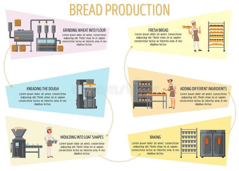 面包生产infographic传染媒介平的样式设计 向量例证