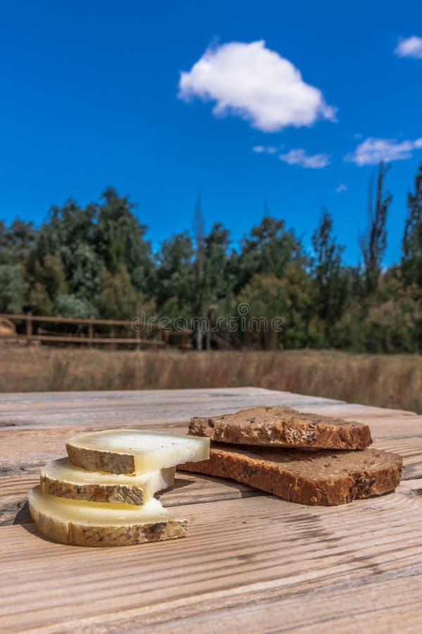 面包用在一美妙的lanscape的乳酪 免版税库存照片