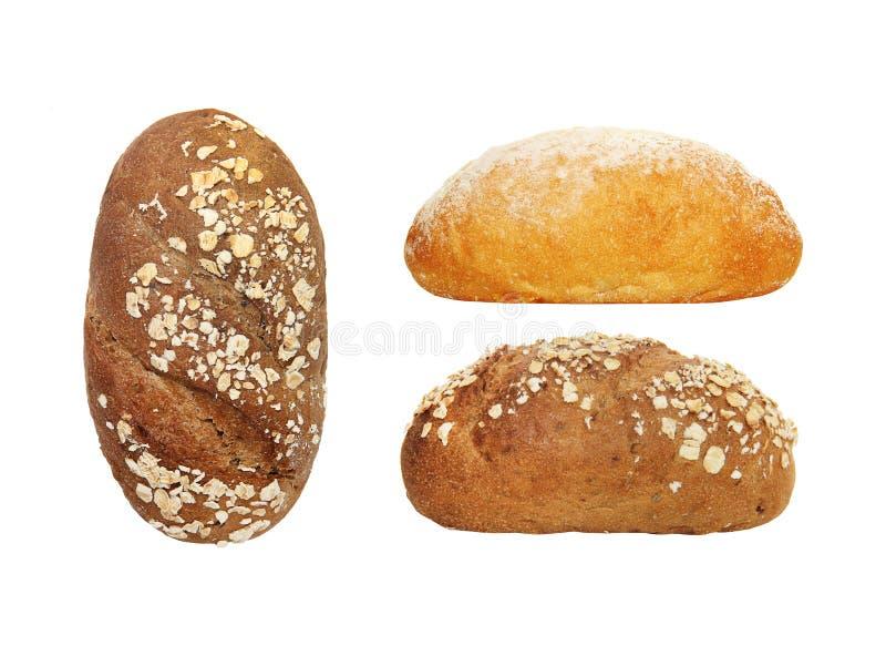 黑面包用在白色隔绝的麸皮 库存图片