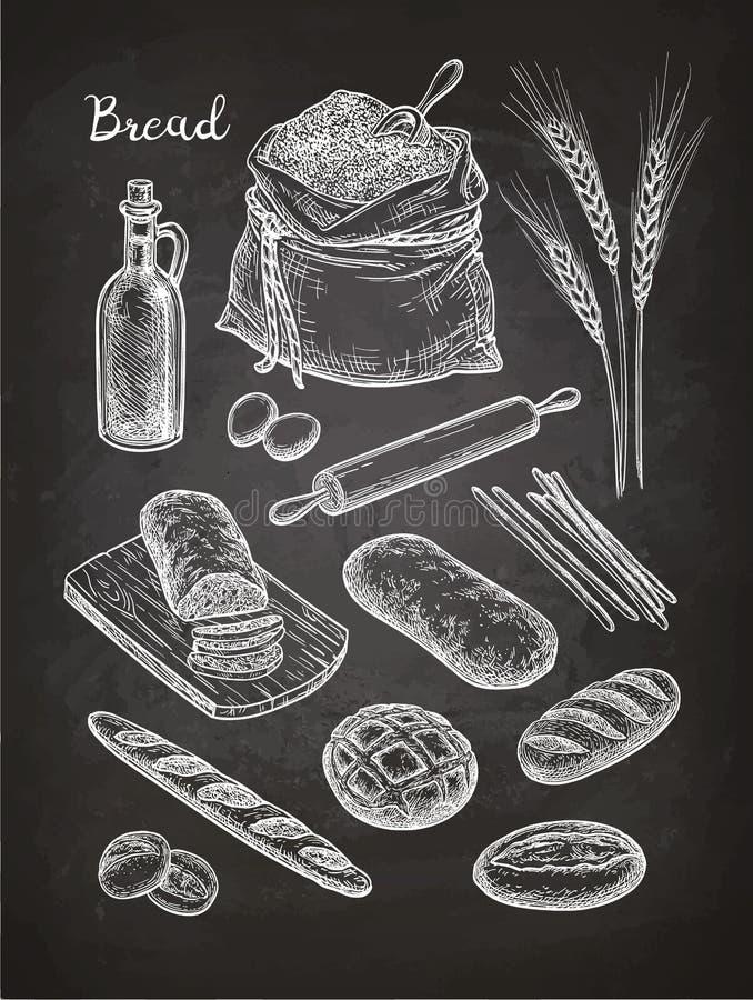 面包白垩剪影  库存例证
