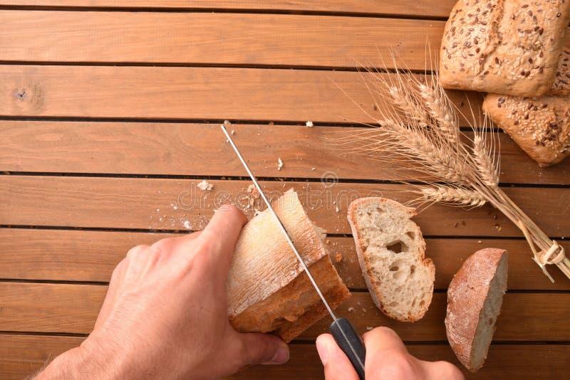 面包的构成在木台式的 免版税库存图片