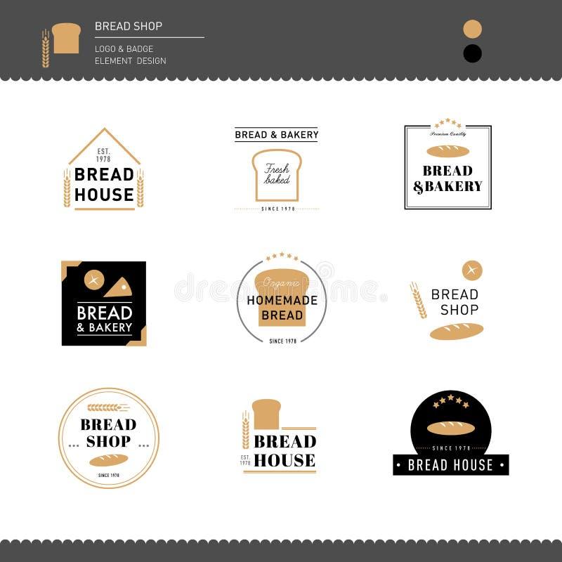 面包的汇集和面包店咖啡馆设计商标 皇族释放例证