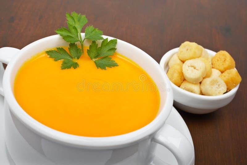 面包红萝卜油煎方型小面包片纯汁浓汤 图库摄影