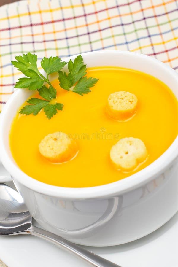 面包红萝卜油煎方型小面包片纯汁浓汤 免版税图库摄影