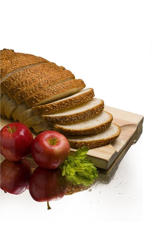 面包苹果静物画  图库摄影